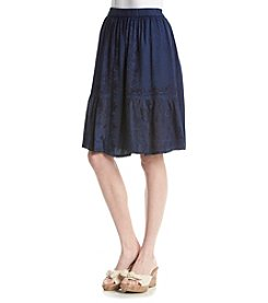 Studio West Short Denim Flared Skirt