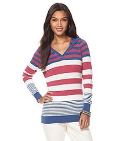 Chaps® Long Sleeve Mariner Striped Hooded Sweater