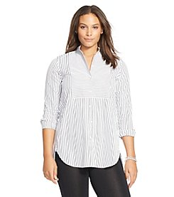 Lauren Ralph Lauren® Plus Size Striped Bib-Front Cotton Shirt