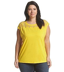Chelsea & Theodore® Plus Size Lace Neck Top