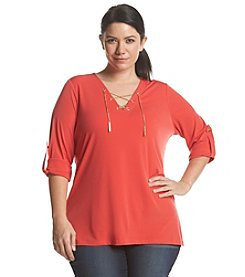 MICHAEL Michael Kors® Plus Size Lace Up Neck Tunic