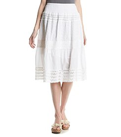 Studio West Short Eyelet Crochet Skirt