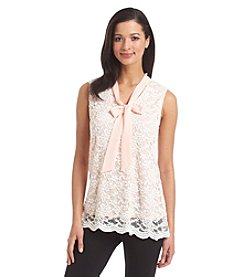 Notations® Sleeveless Lace Knit Top
