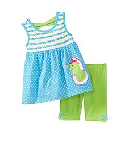 Nannette® Baby Girls' 2-Piece Seahorse Top And Bike Shorts Set