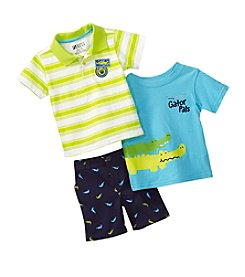 Nannette® Baby Boys' 3-Piece Gator Pals Shirt And Shorts Set