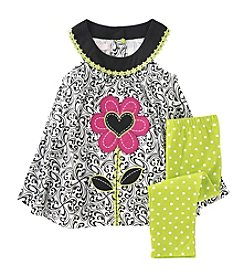 Kids Headquarters® Baby Girls' 12-24 Month Flower Tunic And Dot Leggings Set