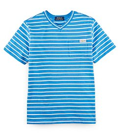 Ralph Lauren Childrenswear Boys' 8-20 Short Sleeve Striped Pocket Tee
