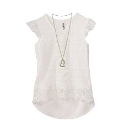 Beautees Girls' 7-16 Flutter Sleeve Lace Top