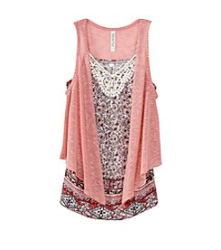 Beautees Girls' 7-16 Embellished Tank With Vest