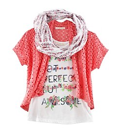 Belle du Jour Girls' 7-16 Lace Cardigan, Tee, And Scarf Set