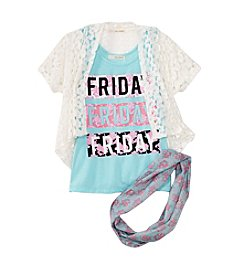 Belle du Jour Girls' 7-16 Lace Cardigan, Tank, And Scarf Set