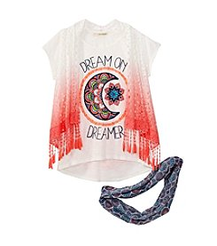 Belle du Jour Girls' 7-16 Crochet Vest, Tee, And Scarf Set