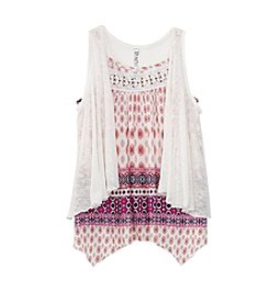 Beautees Girls' 7-16 Printed Tank With Vest