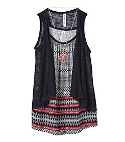 Beautees Girls' 7-16 Printed Tank With Vest And Necklace