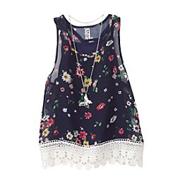 Beautees Girls' 7-16 Floral Print Tank With Necklace