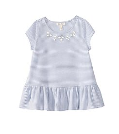 Jessica Simpson Girls' 7-16 Striped Embellished Peplum Top
