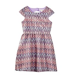 Jessica Simpson Girls' 7-16 Printed Shimmer Skater Dress