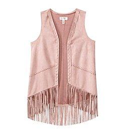 Jessica Simpson Girls' 7-16 Faux Suede Fringe Vest