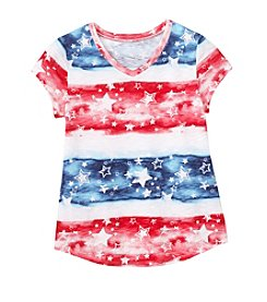 Miss Attitude Girls' 7-16 Stars And Stripes Printed Tee