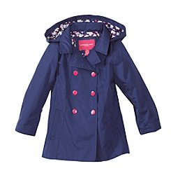 London Fog® Girls' 2T-6X Trench Coat With Printed Hood