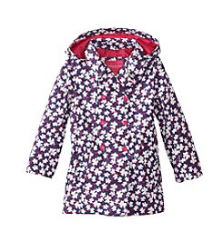 London Fog® Girls' 2T-6X Floral Printed Trench Coat With Hood