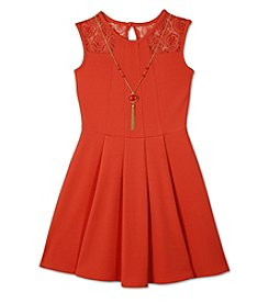 A. Byer Girls' 7-16 Lace Trim Fit And Flare Dress With Necklace