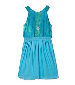 A. Byer Girls' 7-16 Printed Sparkle Popover Dress With Necklace