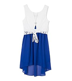 A. Byer Girls' 7-16 Lace Tie Front Dress With Necklace