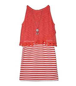 A. Byer Girls' 7-16 Crochet Trim Popover Dress With Necklace