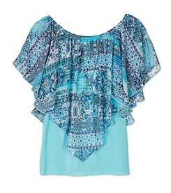 A. Byer Girls' 7-16 Geo Printed Popover Top