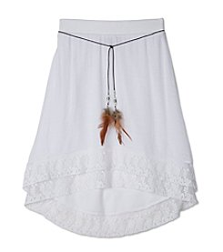 A. Byer Girls' 7-16 High-Low Lace Trim Skirt With Belt