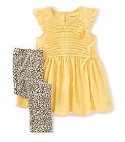 Calvin Klein Girls' 2T-6X Ruffle Top And Leopard Printed Leggings Set