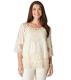 Democracy Quarter Sleeve Crochet Contrast Top