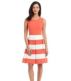 Nine West® Sleeveless Striped Fit And Flare Dress