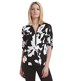 Calvin Klein Front Zip Floral Printed Shirt