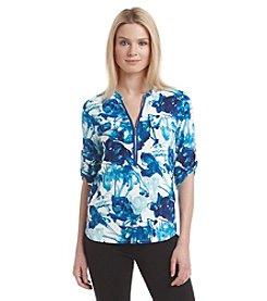 Calvin Klein Front Zip Paint Printed Shirt