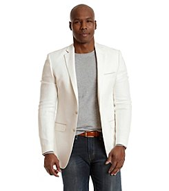 Tallia Orange Men's Linen Sport Coat With Elbow Patches