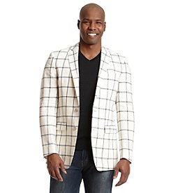 Tallia Orange Men's Linen Plaid Sport Coat