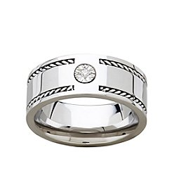 Fine Jewelry Stainless Men's Diaura Band Ring With Braided Border And 0.02ct Diamond Accent