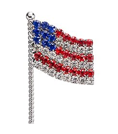 Studio Works® Silvertone And Multi Color Rhinestone USA Flag Pin