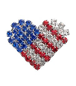Studio Works® Silvertone And Multi Color Rhinestone USA Heart Pin