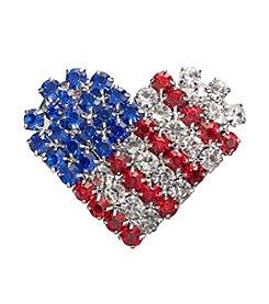 Studio Works® Silvertone And Multi Color Rhinestone USA Heart Pin