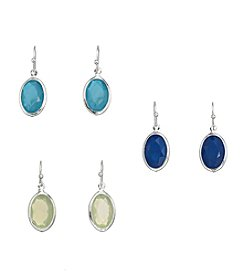 Studio Works® Silvertone And Multi Color Faceted Oval Drop Trio Earrings