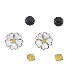 Studio Works® Silvertone And Multi Colored Flower And Studs Trio Earrings