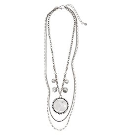 Laura Ashley® White And Silvertone Three Row Layered Necklace With Round Pendant