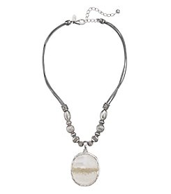 Laura Ashley® White And Silvertone Oval Pendant Necklace