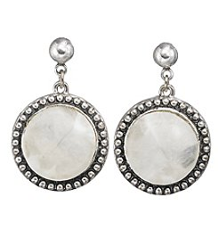 Laura Ashley® White And Silvertone Round Post Drop Earrings