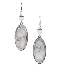 Laura Ashley® White And Silvertone Narrow Oval Drop Earrings