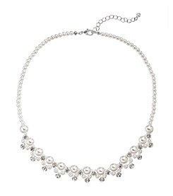 Studio Works® Silvertone Pearl And Rhinestone Necklace
