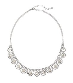 Studio Works® White Simulated Pearls Clear Crystal And Silvertone Frontal Necklace